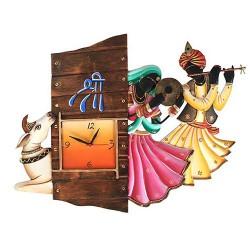 Radha Krishna Cow Wall Clock, 24 X 18 Inch