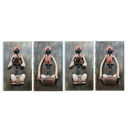 Rajasthani Musician Set Of Four (2)Antique, 14 X 08 Inch