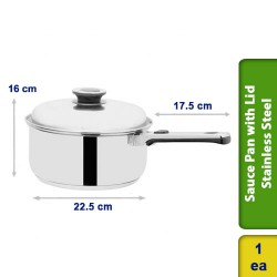 Sauce Pan with Lid Stainless Steel 3 Ltrs