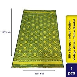 Silky Solapur Indian Cotton Vintage Woven Throw Blanket 150 x 225 cm