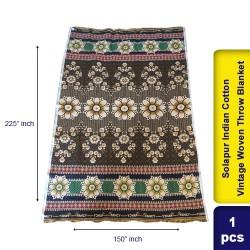 Solapur Indian Cotton Vintage Woven Throw Blanket 150 x 225 cm