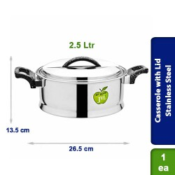 Stainless Steel Casserole with strong Plastic Handle with Lid 2.5 Ltr