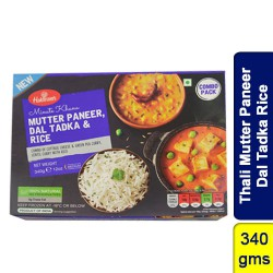 Thali Mutter Paneer Dal Tadka Rice Haldirams