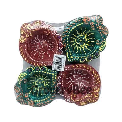Colourful Diya Tray Without Wax 6352