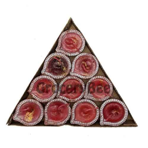 Decorated Diya Tray With Wax 6343